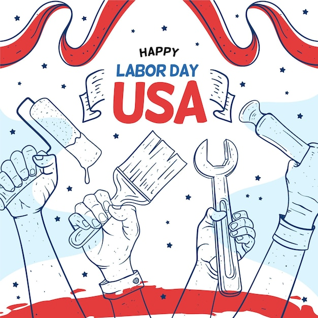 Tools happy usa labour day Free Vector