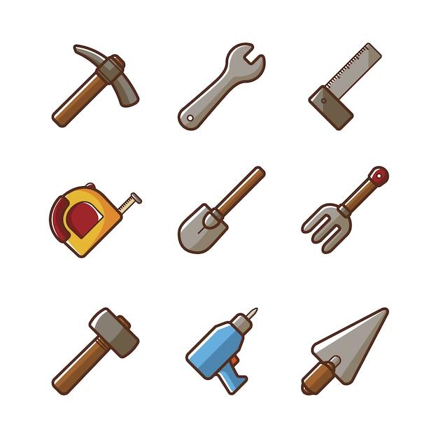 Strumenti collezione di icone Vettore gratuito