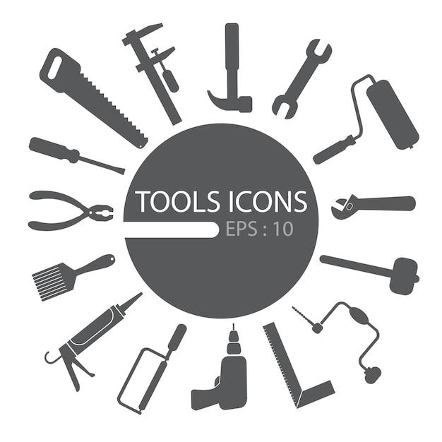 Tools icon set Premium Vector