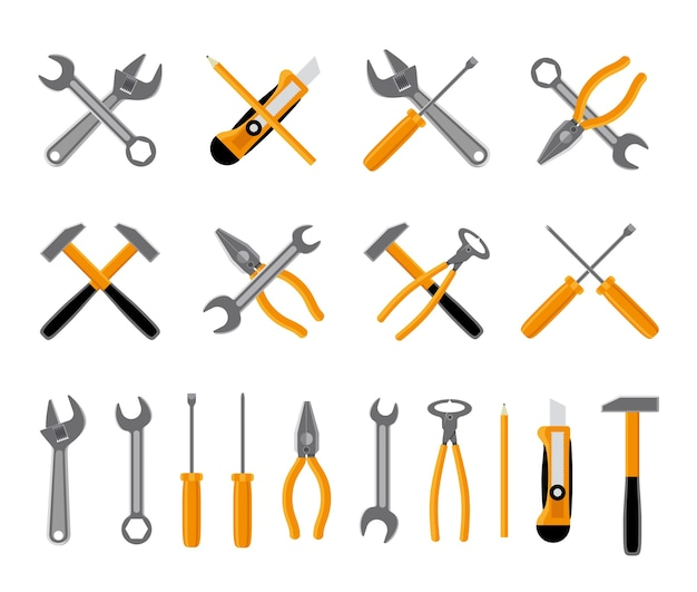 Tools icons set. hammer and wrench, , screwdriver and spanner. vector illustration Free Vector
