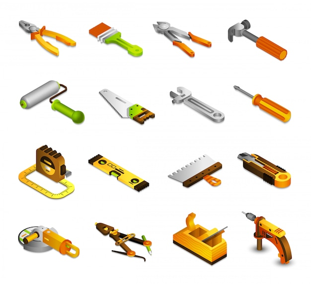 Tools isometric icons Free Vector
