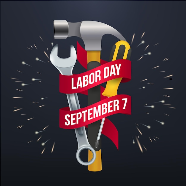 Tools and labor day in usa realistic design Free Vector
