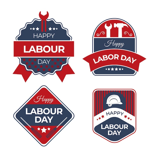 Tools labour day label with ribbons collection Free Vector