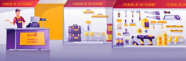 Negozio di strumenti, interno del negozio di costruzione hardware Vettore gratuito