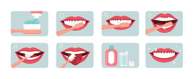 歯磨きステップイラストセット。適切な口腔ケア。コンセプトを使用して歯磨き粉とすすぎ。歯科医院の有益なバナー、ポスターのデザイン要素。美しい笑顔のフラットアイコンパック。 Premiumベクター