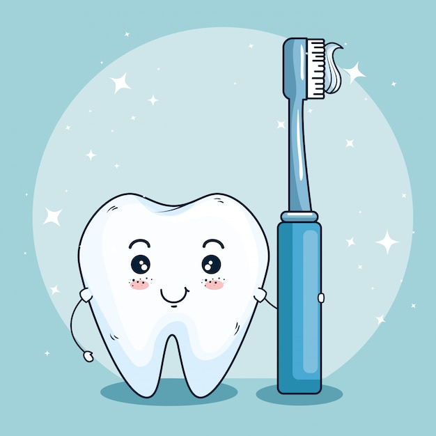 Tooth care medicine with dental toothbrush Free Vector