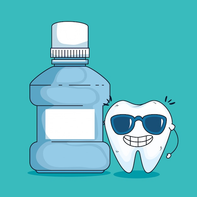 Tooth care with sunglasses and medical toothwash Free Vector