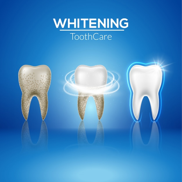 Tooth clean 3d health. dental realistic dirty whitening. dentist teeth hygiene isolated medicine template Premium Vector