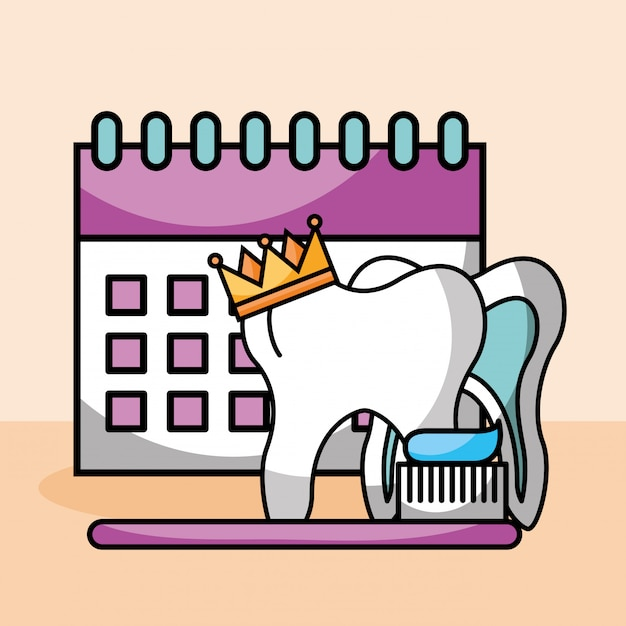 Tooth crown brush paste calendar Premium Vector