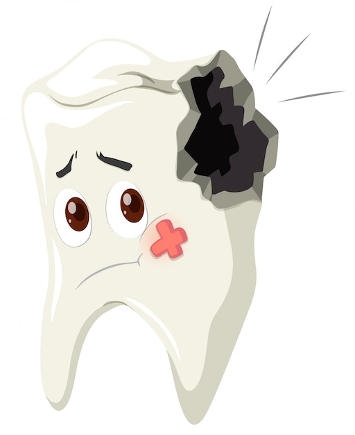 Tooth decay with sad face Free Vector