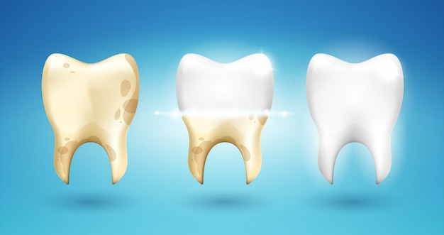 Tooth dental brushing in 3d style. Premium Vector