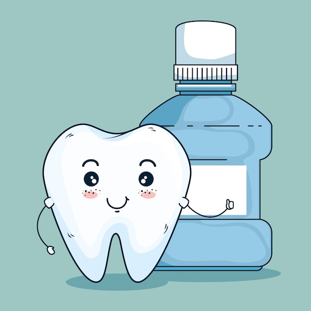 Tooth dentistry care and dental mouthwash Free Vector