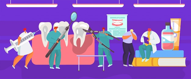 Premium Vector Tooth Extraction Dental Medical Prosedure By Dentist Surgeon Mouth Anatomy Cartoon Illustration