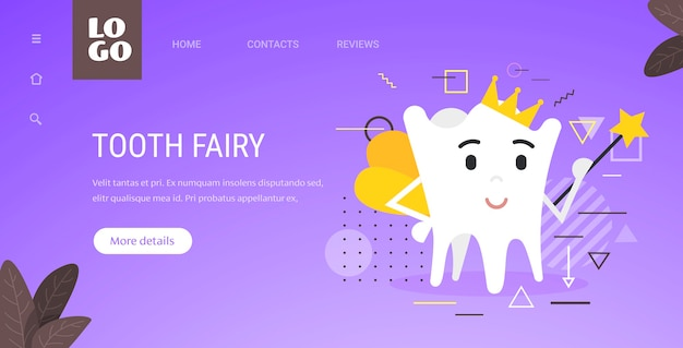 Зубная фея милый персонаж с волшебной палочкой концепция гигиены полости рта копирование пространства Premium векторы