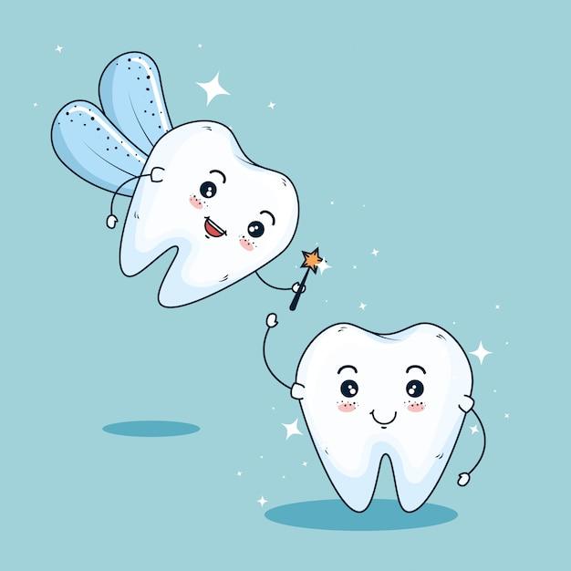 Fatina dei denti per l'igiene della medicina dentale Vettore gratuito