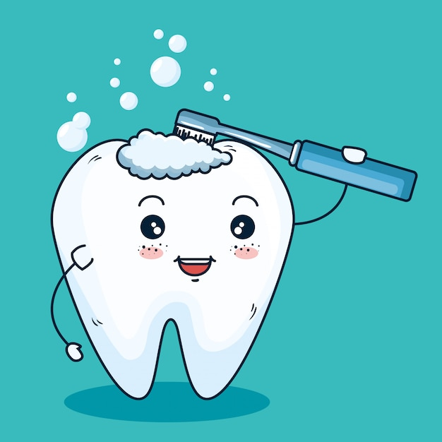 Tooth hygiene healthcare with toothbrush equipment Free Vector