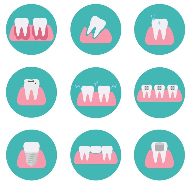 Tooth icons collection Free Vector