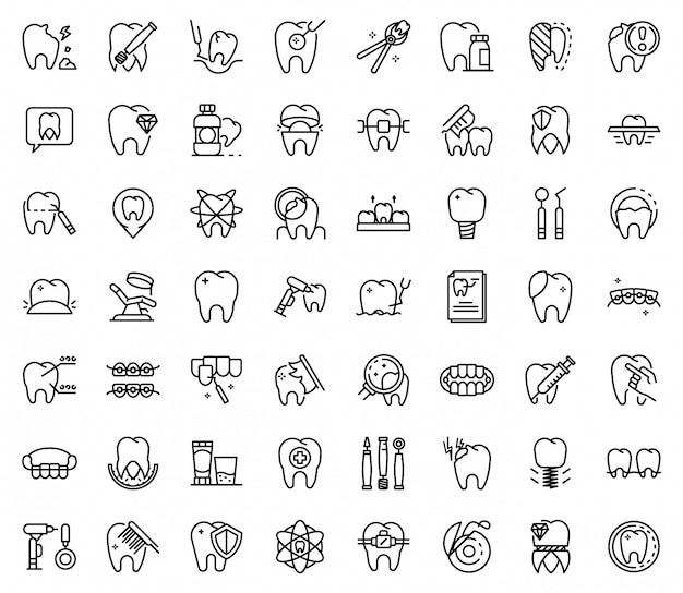 Tooth restoration icons set, outline style Premium Vector
