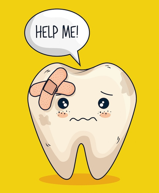 Tooth with aid care and hygiene treatment Free Vector