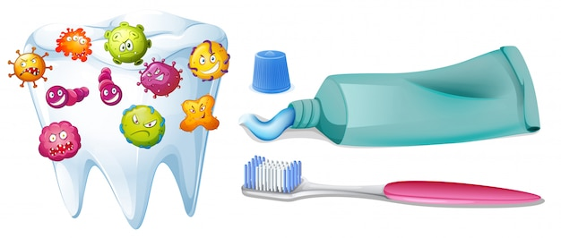 Tooth with bacteria and cleaning set Free Vector