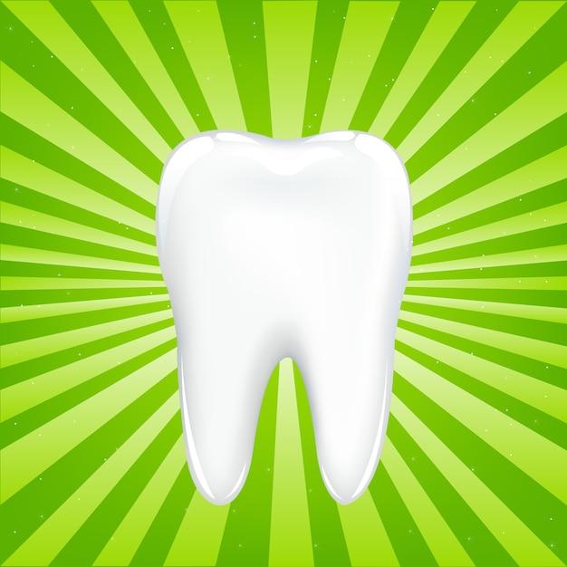 梁のある緑色の背景で、梁のある歯、イラスト Premiumベクター