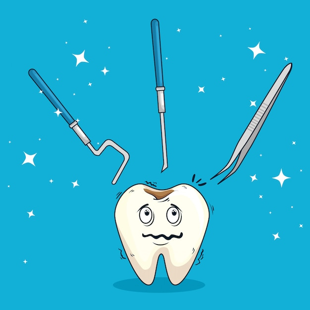 Tooth with caries and excavadors with tools Free Vector