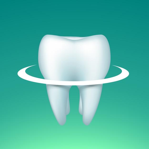 Зуб с кругом на светлом Premium векторы