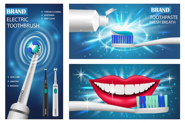 Toothbrush banner set Premium Vector