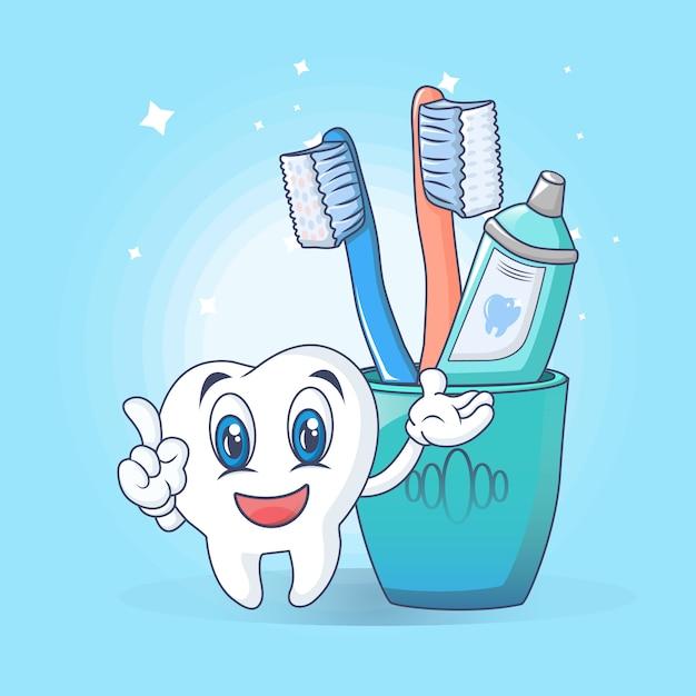 Toothbrush care fun concept, cartoon style Premium Vector