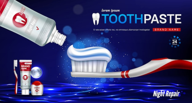 Toothpaste, brush, dental floss and tooth banner Free Vector