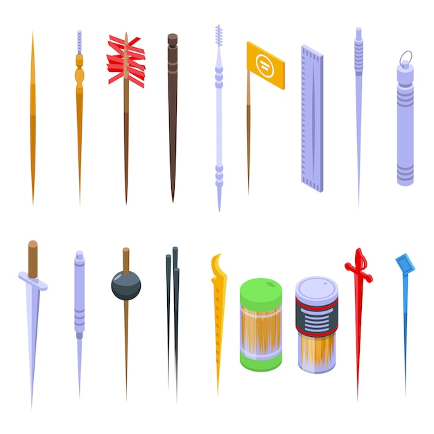 Toothpick icons set. isometric set of toothpick vector icons for web design isolated on white space Premium Vector