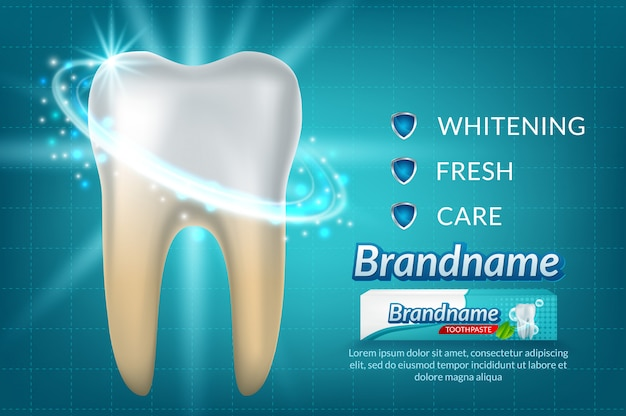 Toothwhitening toothpaste ad poster. Premium Vector
