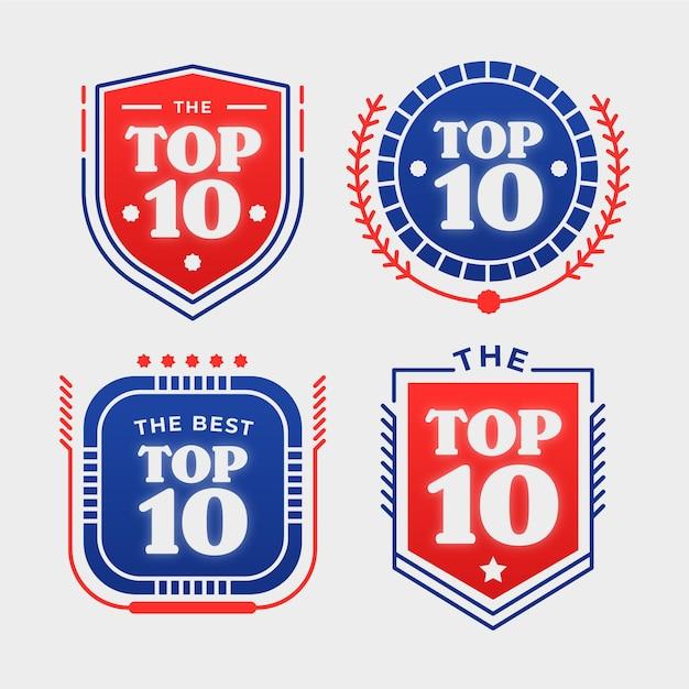 Raccolta dei 10 migliori badge Vettore gratuito