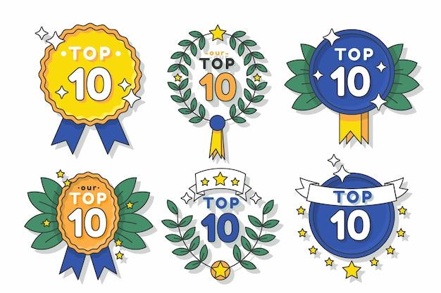 Топ-10 значков с лентами Бесплатные векторы