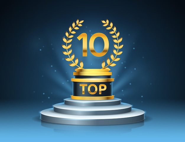 Top 10 best podium award Free Vector