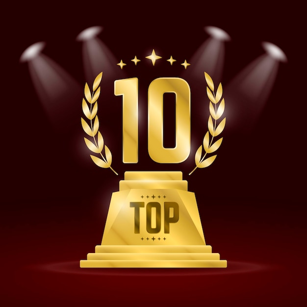 Top 10 Best Podium Award 프리미엄 벡터