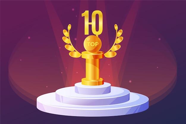 Top 10 Best Podium Award 프리미엄 벡터