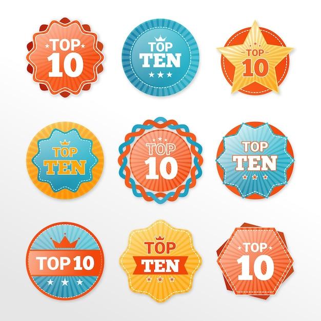 Raccolta delle 10 migliori etichette Vettore gratuito