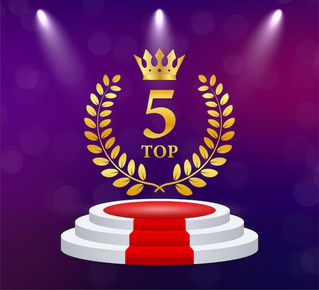 Top 5. golden laurel wreath . victory prize. trophy cup.   illustration. Premium Vector