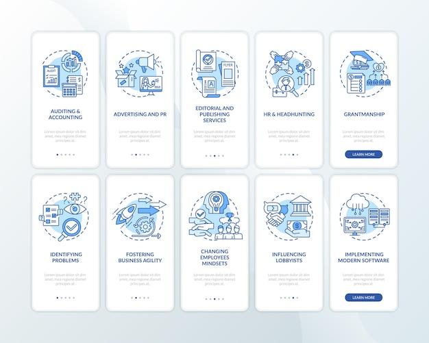コンセプトが設定されたモバイルアプリのページ画面をオンボーディングするトップビジネスカウンセリングサービス。 Premiumベクター