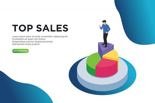 Top sales isometric vector illustration concept Premium Vector