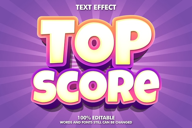 Top score banner - editable modern text effect Free Vector