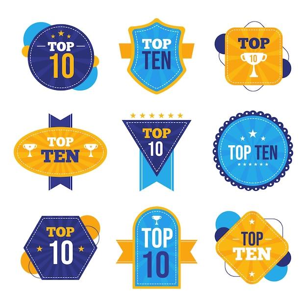 Top ten badges collection Free Vector