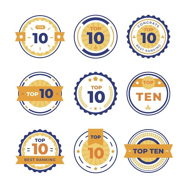 Raccolta dei primi dieci badge Vettore gratuito