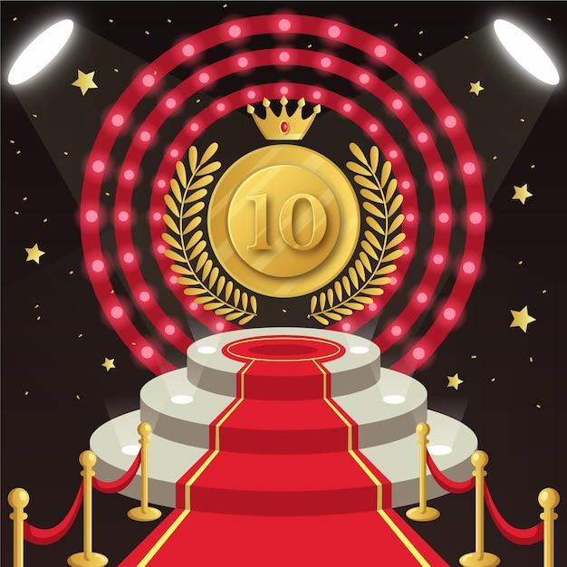 Top ten best podium award with crown Free Vector