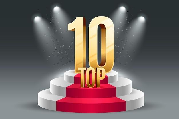 Top ten best podium award with lights Free Vector