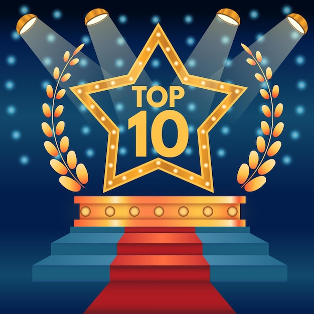 スター付きトップ10ベスト表彰台賞 無料ベクター