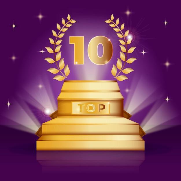 トップ10ベスト表彰台賞 無料ベクター