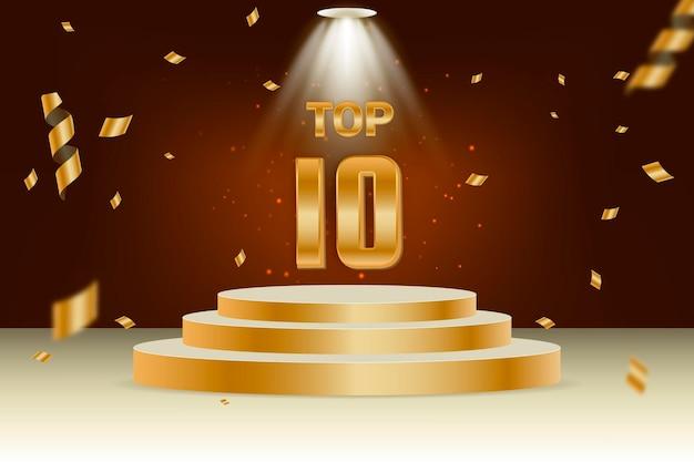 Top ten best podium award Free Vector