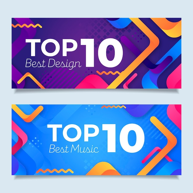 Top ten rating banners collection Free Vector